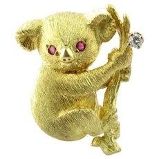 Black Starr & Frost 18K Yellow Gold Diamond Ruby Koala Bear Brooch