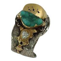 Margaret Barnaby Sterling Silver 18k Gold Cuff Bracelet, Ducks On A Pond