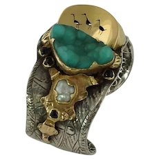 Margaret Barnaby Sterling Silver 18k Gold Cuff Bracelet, Ducks On A Pond