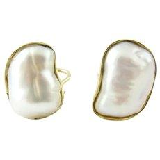 Vintage 1980's Tiffany & Co. 18K Yellow Gold Keshi Pearl Earrings