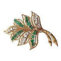Van Cleef & Arpels 18K Yellow Gold Diamond Emerald Leaf Brooch Pin circa 1960's
