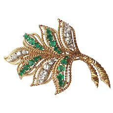 Van Cleef & Arpels 18K Yellow Gold Diamond Emerald Leaf Brooch Pin circa 1960's