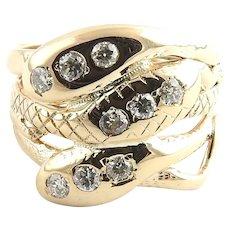 Vintage 10 Karat Yellow Gold and Diamond Snake Ring Size 8.25