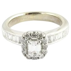 Vintage 14 Karat White Gold and Diamond Engagement Ring 4.5