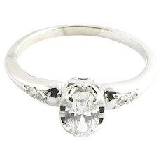 Vintage 14 Karat White Gold Diamond Engagement Ring Size 5.75