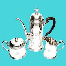 Vintage Tiffany & Co Sterling Silver 3 Piece Coffee Set, With Monogram