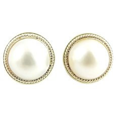 Vintage 14 Karat Yellow Gold Mabe Pearl Earrings