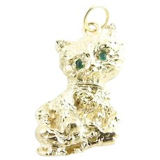 Vintage 14 Karat Yellow Gold and Emerald Cat Charm/Pendant3