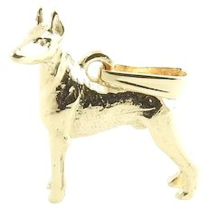 Vintage 14 Karat Yellow Gold Doberman Pinscher Dog Charm