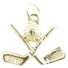 Vintage 14 Karat Yellow Gold Golf Clubs and Ball Charm
