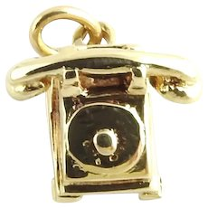 Vintage 14 Karat Yellow Gold Rotary Dial Telephone Charm