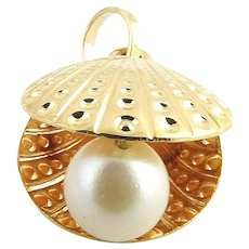Vintage 18 Karat Yellow Gold Sea Shell with Pearl Charm