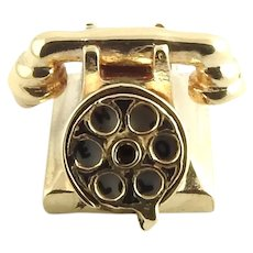 "Vintage 14 Karat Yellow Gold ""HELLO"" and "" I LOVE U"" Rotary Dial Telephone Charm"