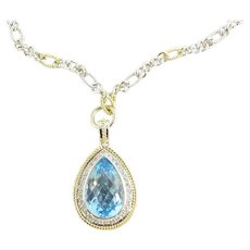 Vintage 18 Karat Yellow and White Gold Swiss Blue Topaz and Diamond Pendant Necklace