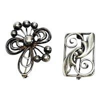 Set Of 2 Sterling Silver Vintage John Lauritzen Pins