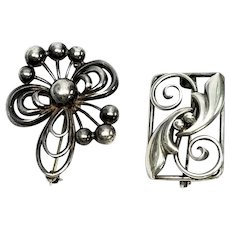 Set Of 2 Sterling Silver Vintage John Lauritzen Pins