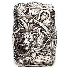 Vintage R Blackinton Hunting Tiger Repousse Sterling Silver Match Safe/Vesta Case