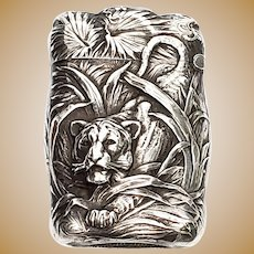Vintage R Blackinton Hunting Tiger Repousse Sterling Silver Match Safe/Vesta Case