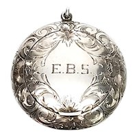 Vintage Battin & Co Sterling Silver Mirrored Compact with Puff, with Monogram