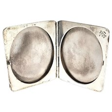 Antique WB Kerr Sterling Silver Photo Compact, Engraved