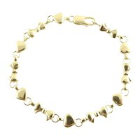 Vintage Tiffany & Co. 18K Yellow Gold Hearts and Bows Link Bracelet 7""