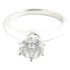 Tiffany & Co. Platinum Round Brilliant Solitaire Diamond Engagement Ring 1.01 cts Box/Paperwork