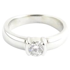 Tiffany & Co. Platinum Etoile Round Diamond Engagement Ring .45 cts Size 7 Certificate/Box