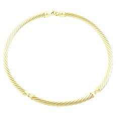 David Yurman 18K Yellow Gold 3 Station Cable Choker Collar Necklace 7mm
