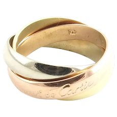 Les Must de Cartier 18K Tri Gold Trinity Rolling Ring Band Size 45 / 3.25