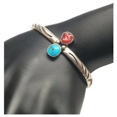 Native American A. J. Platero Sterling Silver Turquoise Coral Cuff Bracelet