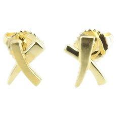 Tiffany & Co. Paloma Picasso 18K Yellow Gold Mini X Stud Earrings w/ Box