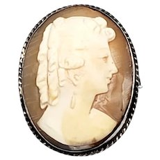 Vintage Sterling Silver Cameo Pin