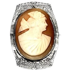 Vintage Sterling Silver Filigree Cameo Pin