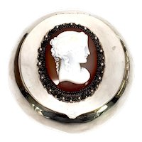 Vintage German 800 Silver Mounted Cameo Round Box