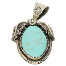 Native American Sterling Silver Turquoise Pendant