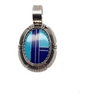 Irv Monte Navajo Sterling Silver Turquoise Inlay Pendant