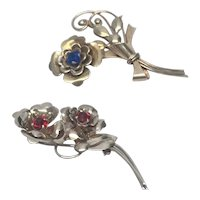 Harry Iskin 1940's Sterling Silver Pair Of Flower Brooches/Pins