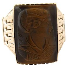 Vintage 14K Pink Gold Carved Brown Carnelian Cameo Ring Size 11.5