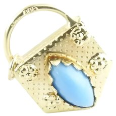 Vintage 14 Karat Yellow Gold and Turquoise Handbag Charm
