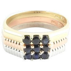 Vintage 14 Karat Tricolor and Sapphire Three Stacking Rings  Size 8.75