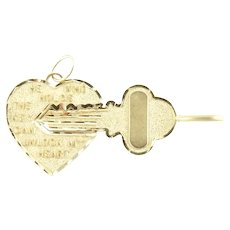 Vintage 14 Karat Yellow Gold Key and Heart Charm
