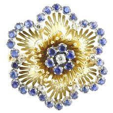 Vintage 18 Karat Yellow Gold Sapphire and Diamond Flower Brooch