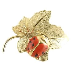 Vintage 14 Karat Yellow Gold Leaf and Ladybug Pin/Brooch