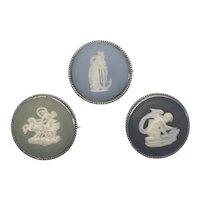 Lot Of 3 Wedgwood Silver Cameo Jasperware Pins