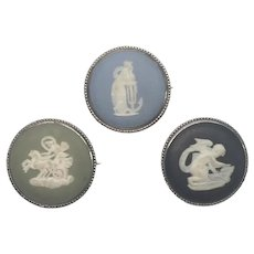 Lot Of 3 Wedgwood Silver Cameo Jasperware Pins