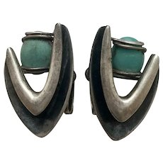 Taxco Jose Luis Flores Sterling Silver Turquoise Boomerang Screwback Earrings