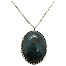 Sterling Silver Oval Chrysocolla Pendant Necklace