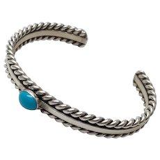 Native American Navajo Steven Apachito Sterling Silver Turquoise Cuff Bracelet