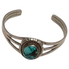 Native American Navajo Johnny Johnson Sterling Silver Turquoise Cuff Bracelet