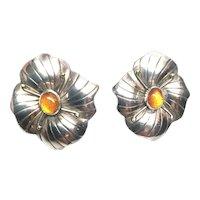 Carol Felley Sterling Silver Orchid Flower Amber Stone Earrings